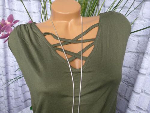 44 bis 58 Kurzarm khaki schöner Ausschnitt 946 Sheego Shirt Top Tunika Gr