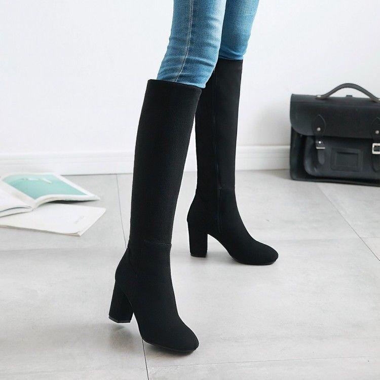 Elástico side Zip Zapatos altas botas rodilla la Gamuza