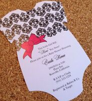 20 Baby Shower Invitations - Onesie With Damask Design And Bow
