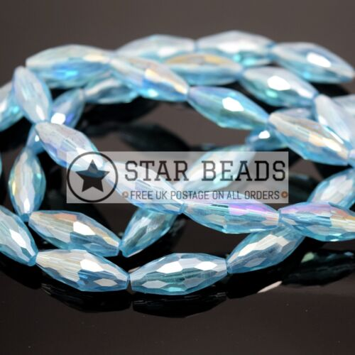 PICK COLOUR 10 X OVAL FACETED GLASS BEADS 18X8MM
