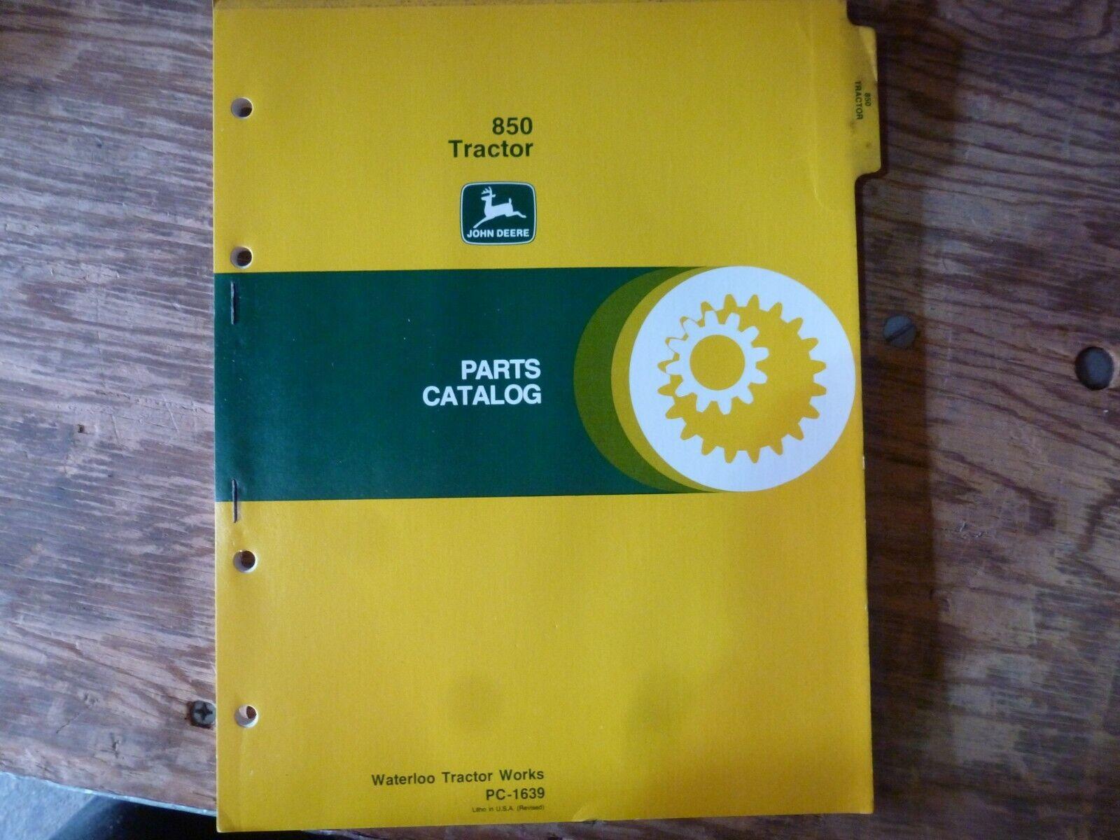 JOHN DEERE 850 TRACTOR PARTS MANUAL BOOK PC-1639