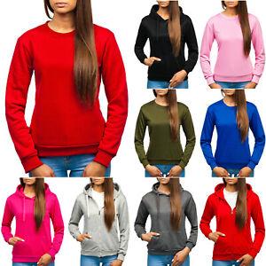 Sweatshirt Langarmshirt Basic Kapuze Unifarben Damen Mix BOLF A1A Classic WOW