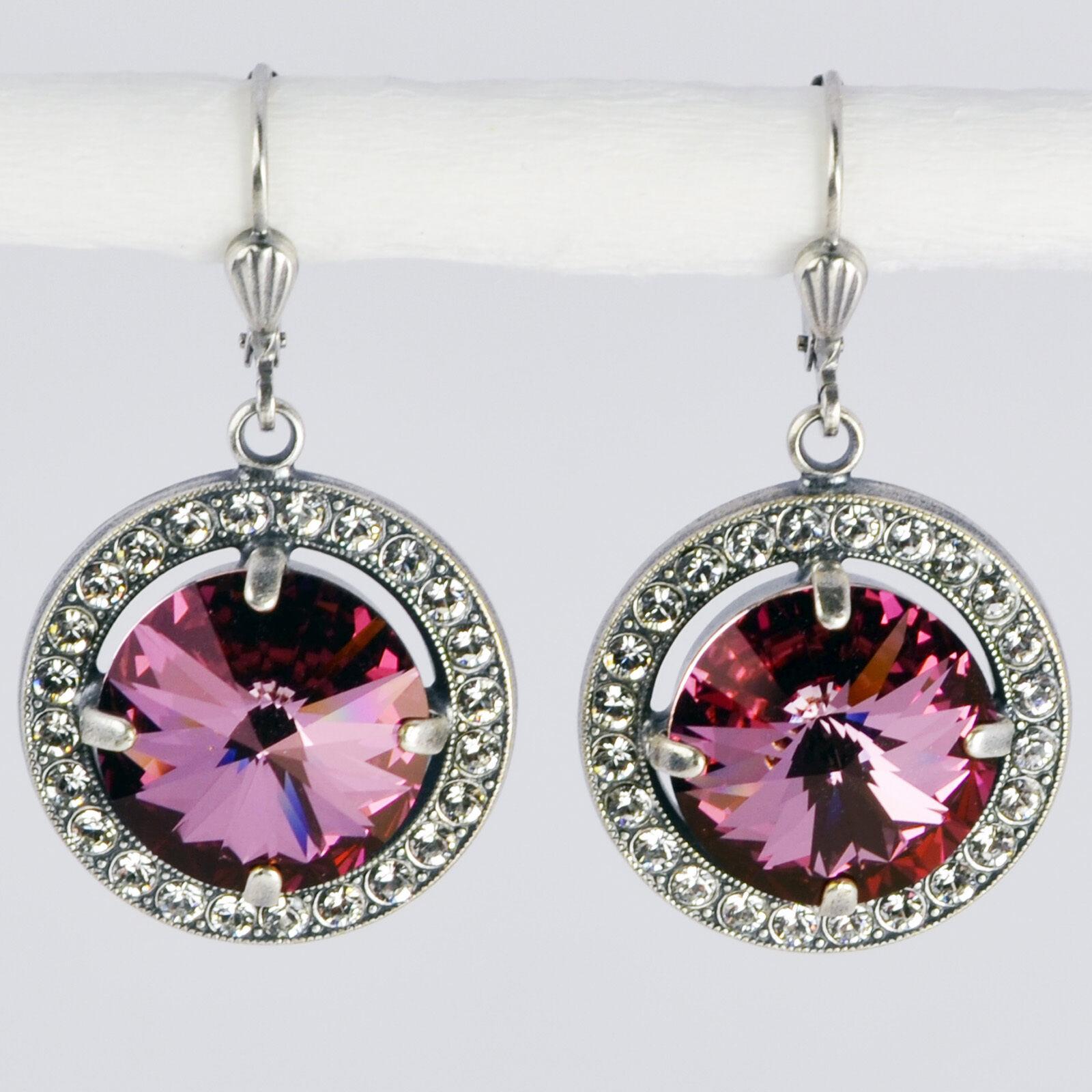 Grevenkämper Ohrringe Swarovski Kristall Rund Pavé Vintage purple Antique Pink