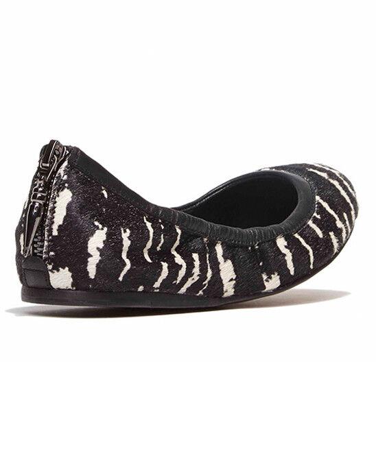 DOLCE VITA ARDEN WOMEN BLACK IVORY CREAM CALF HAIR FLAT BALLET Schuhe 8