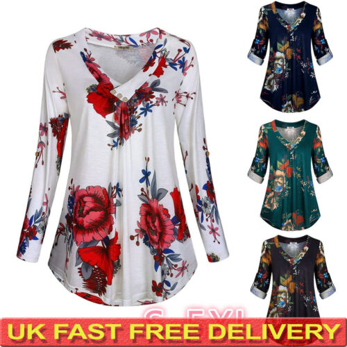 Plus Size Womens Floral V Neck Tops Blouse Ladies Long Sleeve Loose T Shirts UK