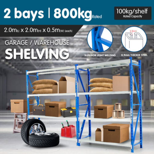 2BAY 400kg 4.0m GARAGE WAREHOUSE STORAGE SHELVING STEEL TOOL RACKING SHELVES
