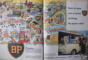 PUBLICITE-1958-BP-VOICI-LA-ROUTE-VERT-ET-JAUNE-DE-DROPY-ADVERTISING