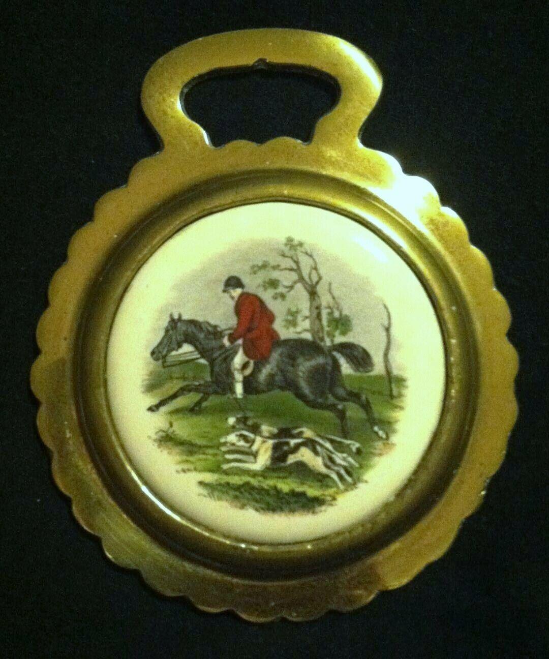 Vintage Cazador  con dos Hounds Porcelana Caballo Latón Wow sus parojoes   bienvenido a comprar