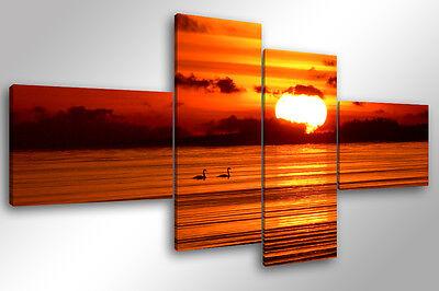 Quadro Su Tela Quadri Moderni Xxl Cm 200x100 Beautiful Sunset Arredamento