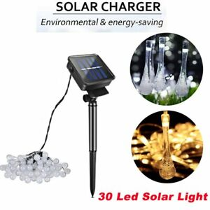 30-LED-Raindrop-Teardrop-Solar-Powered-String-Fairy-Lights-Outdoor-Garden-3V
