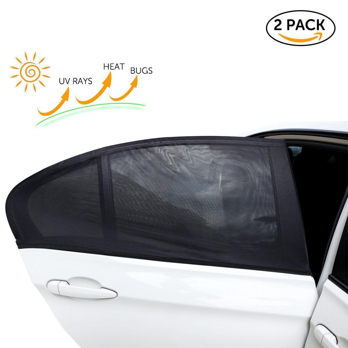 2X Universal Car Rear Window Sun Shade Blind Mesh Cover Screen Kid Child Protect