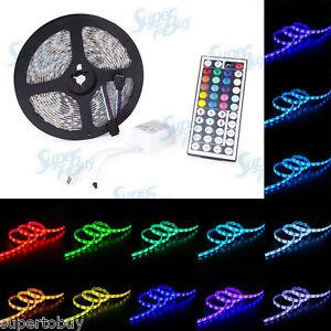 huge selection of 06959 b3a47 Details about 5 Meter Multi-Color LED Strip Light - 5050 SMD 300 LED  Waterproof Flexible 44key
