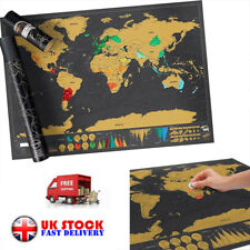 Small Scratch Off World Map Deluxe Edition Travel Log Journal·Poster·Wall·Decore