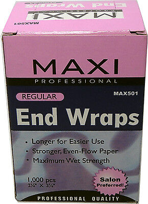 Maxi Professional 1000 Regular End Wraps 2.25 x3.25 Hair Salon Paper Perm Supply