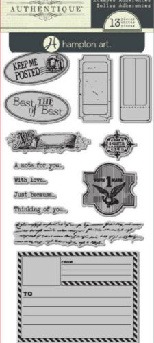 """Authentique IC0231 /""""Keep Me Posted/""""  4x8/"""" Sheet  13 pcs Cling Stamps NEW"""