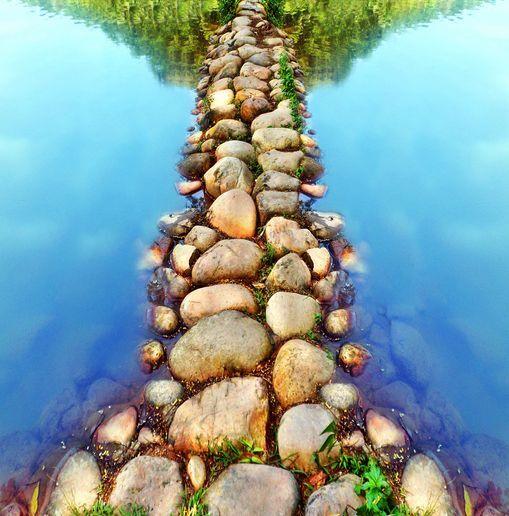 3D River Stones Bridge Floor WallPaper Murals Wall Print Decal 5D AJ WALLPAPER
