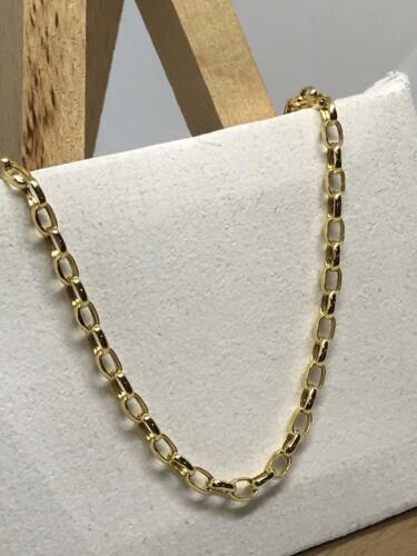 9ct oro amarillo de 375 ley 3mm oval de Belcher Cadena Collar Todas Las Tallas