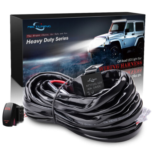 Rocker Switch Red LED Light Bar 12ft MICTUNING HD 300W 14 AWG Wiring Harness
