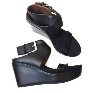 Donald-J-Pliner-Women-039-s-Black-Leather-Wedge-Sandals-NWOB-6