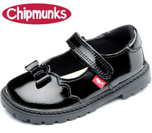 GIRLS-BLACK-PATENT-LEATHER-CHIPMUNKS-AMBER-INFANT-JUNIOR-SCHOOL-SHOES-SIZES-6-2