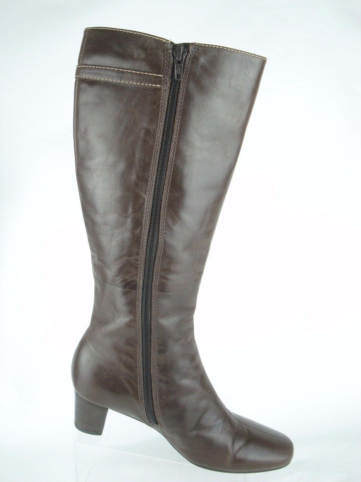 Ecco Bremen Braun Leder Zip Up Buckle Strap Knee High Stiefel Damens 5 - 5.5 / 36