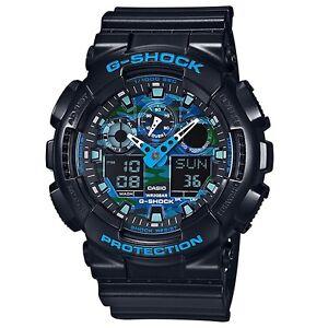 Casio-G-Shock-GA-100CB-1A-Blue-Tone-Camouflage-Face-Analog-Digital-Men-039-s-Watch