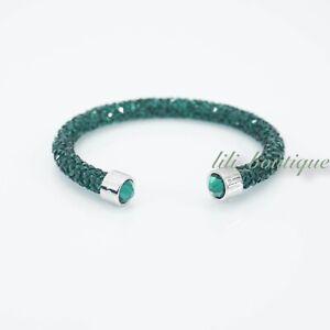 NIB-Swarovski-5292919-Crystaldust-Bangle-Cuff-Bracelet-Emerald-Size-S-5-1-1-5-cm