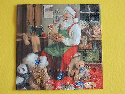 5 Servietten Santa is busy weihnachtsmann Spielzeug Weihnachten 1/4 wichtel