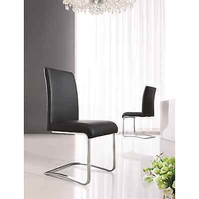 SET OF 4 DESIGNER LEATHER CHROME DINING ROOM CHAIRS-FURNITURE-(5 COLOURS)-IJ654