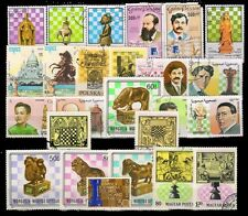 CHESS On Stamps-25 Different Large world Wide Mixed Thematic Mostly Used Stamps