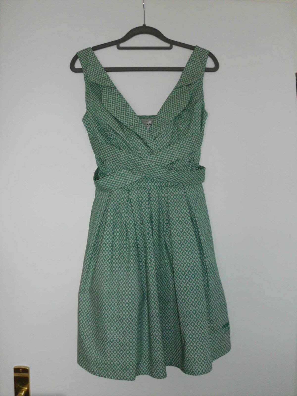 Pepe Jeans London Kleid Jill jade grün creme beige Kragen Bänder Gr. S 36 neu