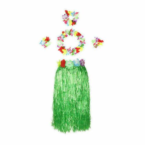 5X Headband Lei Flower Dance Hula Grass Skirt Hawaiian Women Costume Fancy Dress