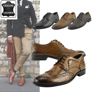 Mens Leather Shoes Genuine Lace up