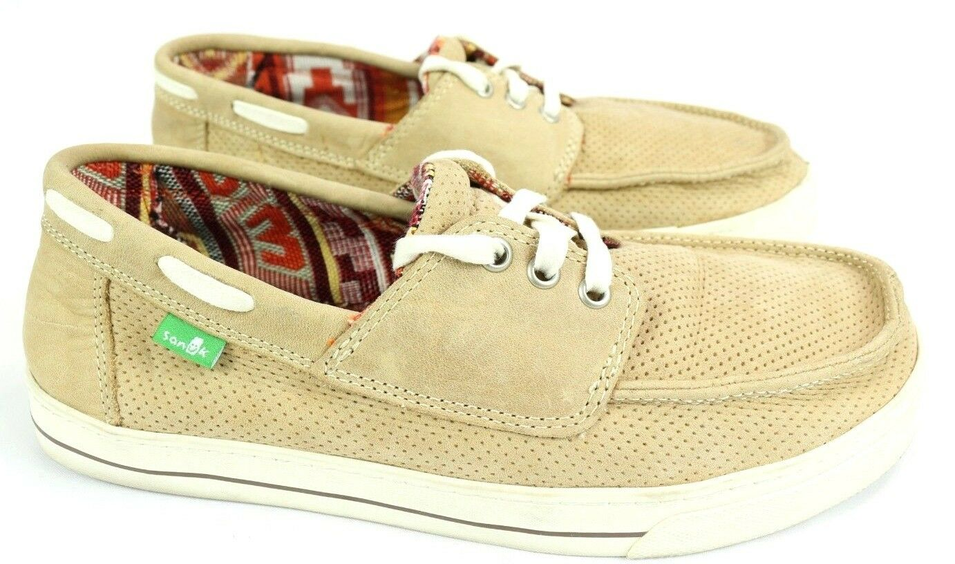 Sanuk Mens Size 8 Tan Motorboat Casual Lace Up Boat shoes Leather Upper