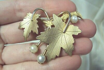 Whispering Leaf ~ Vintage 1960/'s Signed Sarah Coventry BroochPin Earrings Gold Maple Leaf Set ~ demi parure 1968 ~ Faux Pearl Accents
