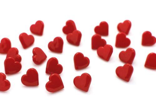 Coeur rouge tige Bouton en forme de cœur Saint-Valentin Bébé Enfants Filles 13 mm 20pcs