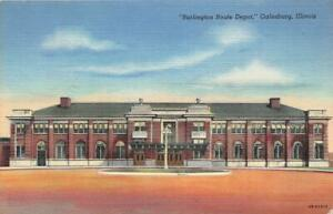 GALESBURG-IL-1944-View-of-the-Burlington-Route-Depot-VINTAGE-RAILROAD-GEM-563