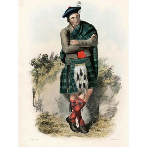 Painting Portrait Highland Clan Scotland Tartan Graham 12X16 Inch Framed Print