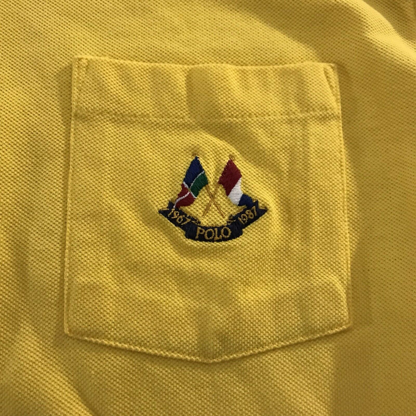 VTG Polo Ralph Lauren 1987 Cross Flags 20th Anniversary Yellow Long Sleeve Tee M