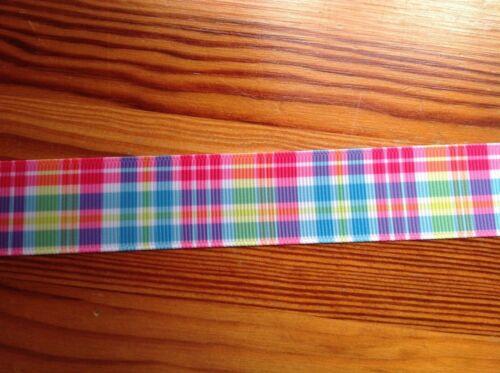 "Tartan plaid check Grosgrain Ribbon 25mm 1/"" wide 3 metres"