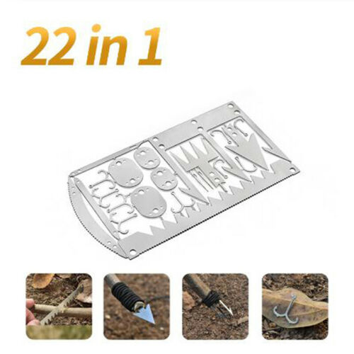 22 in 1 Fishing Gear Card Multi Fishhook Card Survival EDC Kit for OutCE