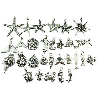 30pcs Mix Ocean Beach Sea Starfish Shell Conch Crab Turtle Whale Mermaid Pendant