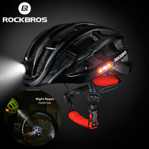 RockBros Yellow Cycling Safety Bike Helmet Size 57-62CM with USB Recharge Light