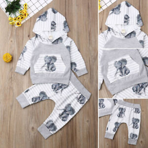 Autumn Newborn Baby Boys Toddler Hooded Coat Tops+Long Pants Outfits Clothes Set