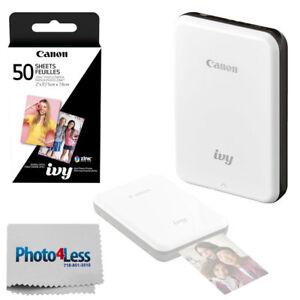 Canon IVY Mini Mobile Photo Printer (Slate Gray) + 50 Zink Photo Paper + Cloth