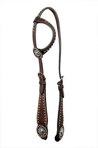 Western Dark Oil One Ear Style Silver Spot Studded Headstall with Conchos