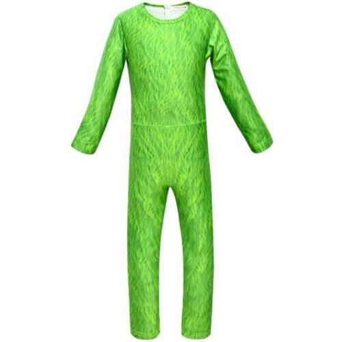4pcs Kid Boy Girl The Grinch Cosplay Jumpsuit Mask Costume Suit Christmas Outfit