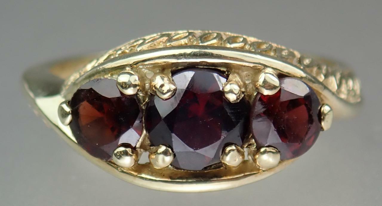 Pretty Vintage Estate 9K Gold 1.6ct Garnet Floral… - image 3