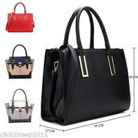Womens Ladies Designer Celebrity Buckle Faux Leather Large Shoulder Handbag Bag