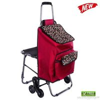Utility Cart Shopping Trolley Chair Bag Rolling Push Multipurpose Lightweight